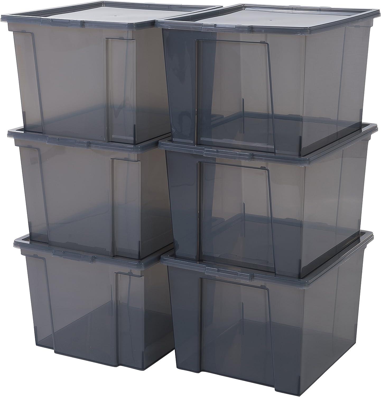 Iris Ohyama, lote de 6 cajas de almacenamiento con tapa - Useful Storage Box - USB-M, gris, 40 L, 42 x 36 x 26,5 cm