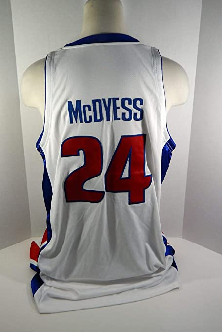 2aece8ae43a 2008-09 Detroit Pistons Antonio McDyess  24 Game Used White Jersey - NBA  Game