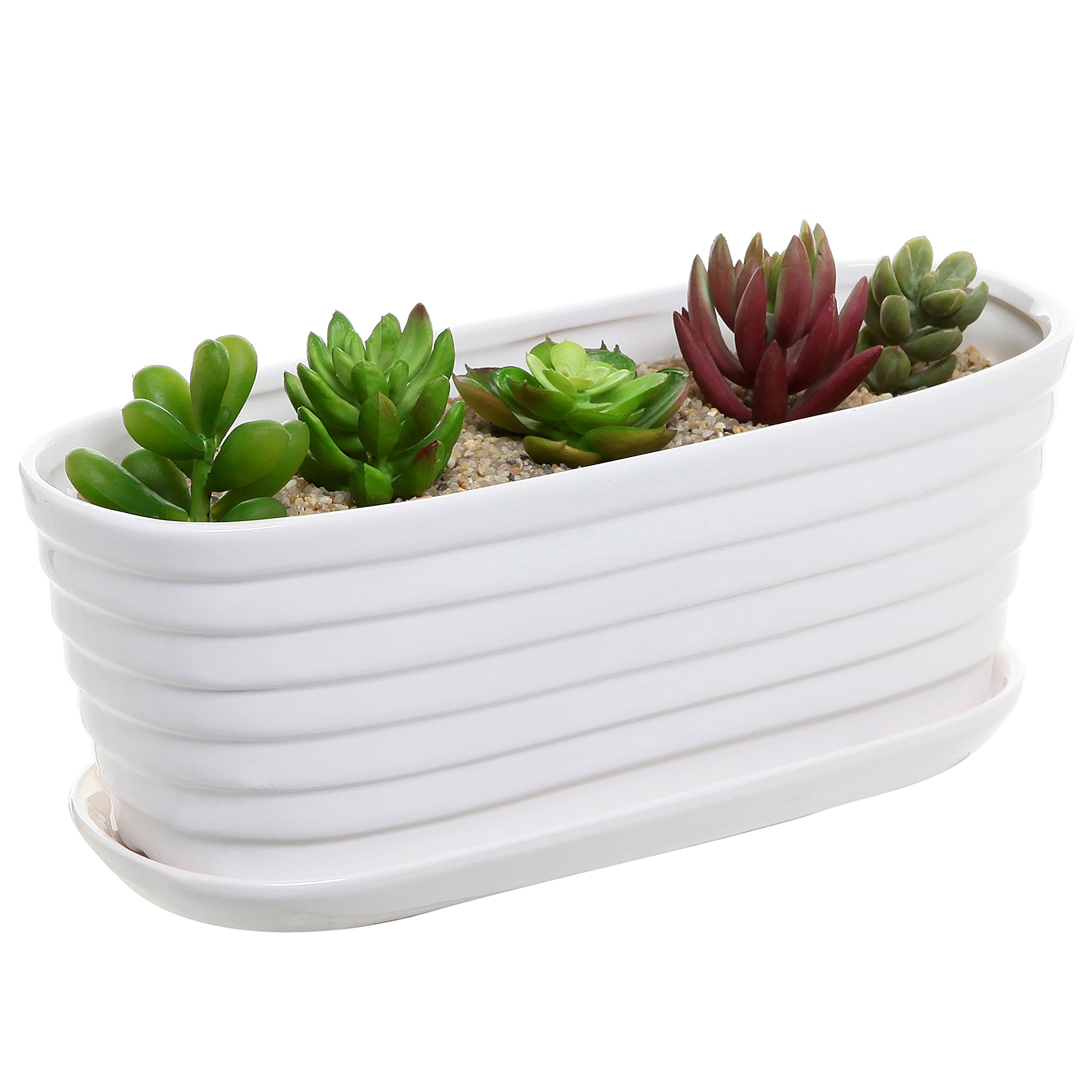 White Ceramic Ribbed Tub Design Succulent Planter Pot / Garden Plant Box w/ Attached Saucer - MyGift