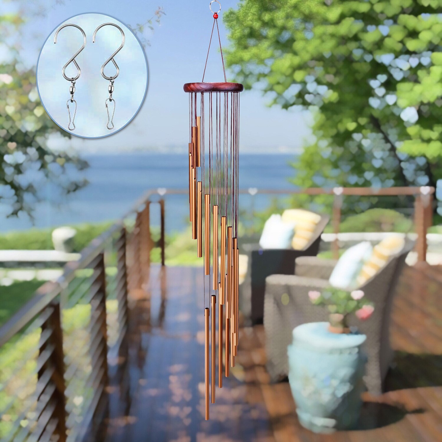 SuninYo Wind Chimes Outdoor,36'' Amazing Grace Wind Chimes with S Hook,a Quality Gift for Garden, Patio, Balcony and Indoor Decor(18 Tubes,Golden)