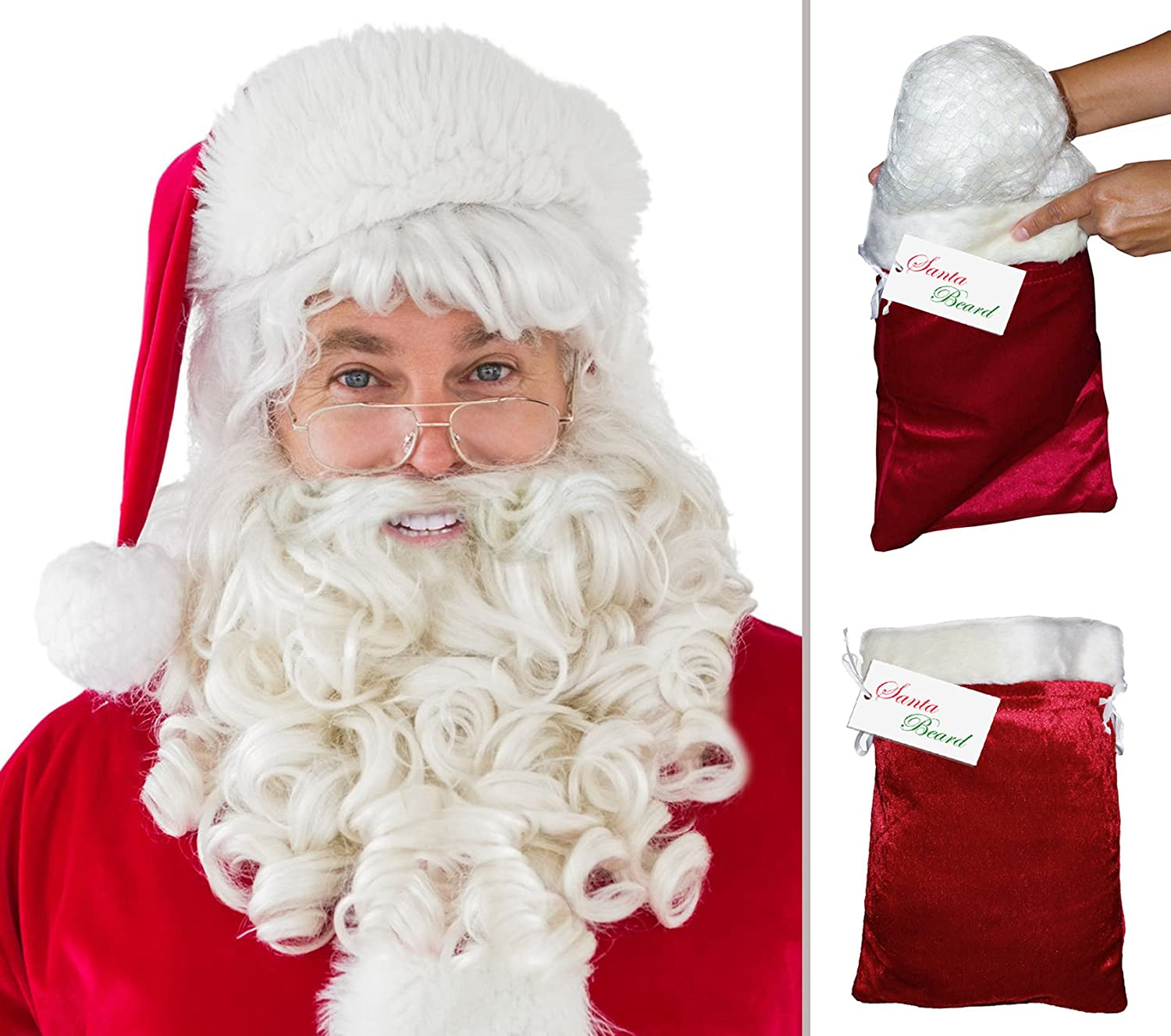 Thick Wavy Santa Beard and Wig Set - DeluxeAdultCostumes.com