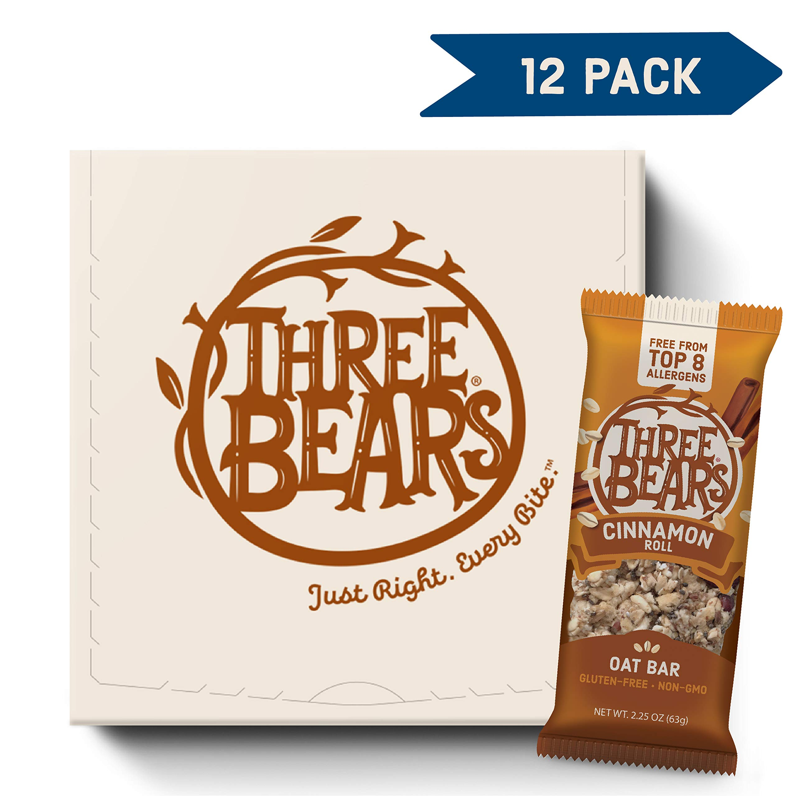 Three Bears Gluten Free Oat Bars, Cinnamon Roll, 2.25 Ounce (Pack of 12) by Three Bears