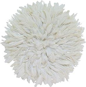 "Old World Shoppe Small White Juju Hat - Wall Decor Feather Headdress - 21"" Diameter"