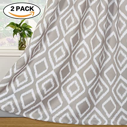 Blackout Ikat Fret Printed Curtains For Bedroom Living Room Summer Window Panel Drapes