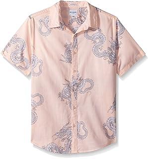 Guess Mens Short Sleeve Sunset Dragon Camp Shirt