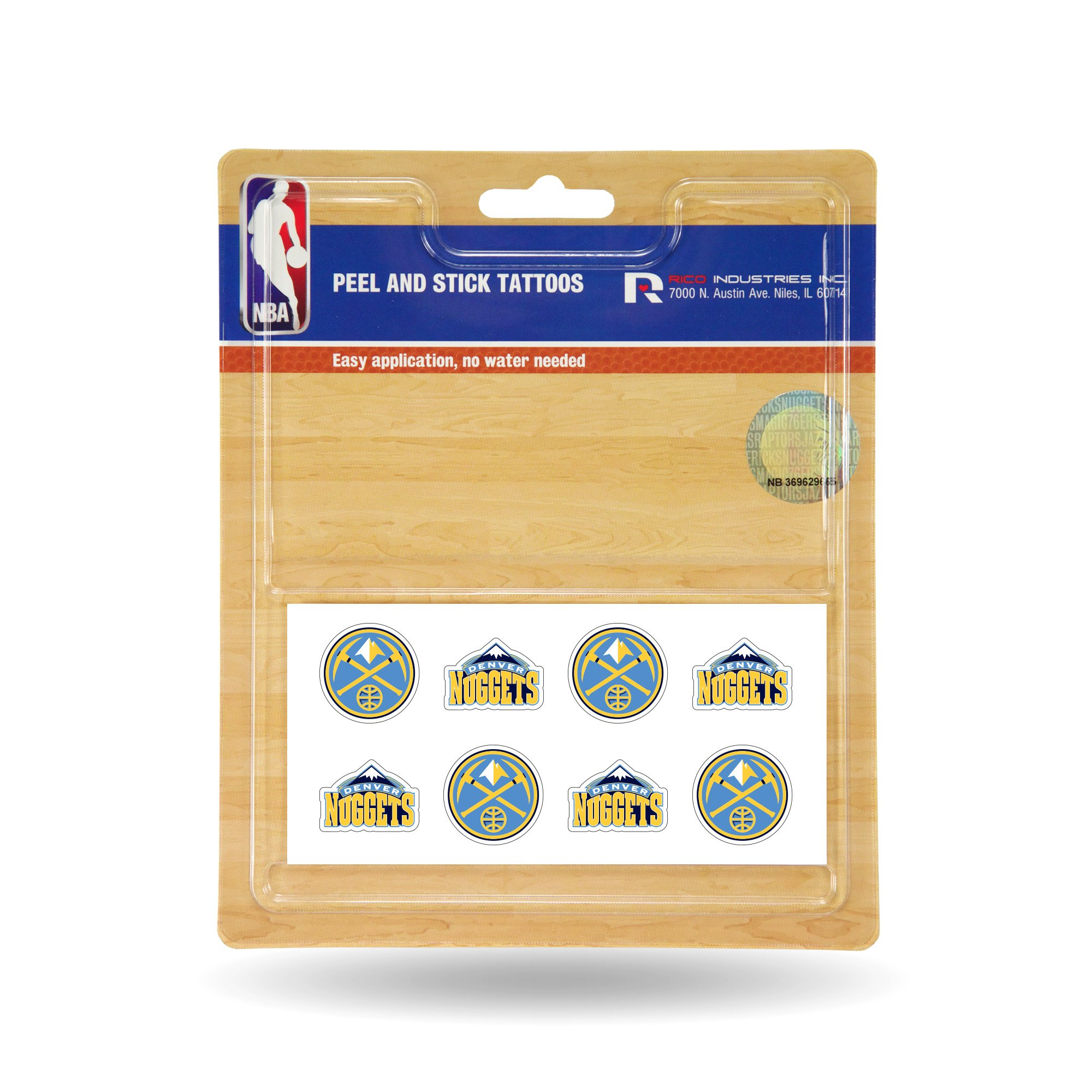 Rico Industries NBA Denver Nuggets Face Tattoos, 8-Piece Set