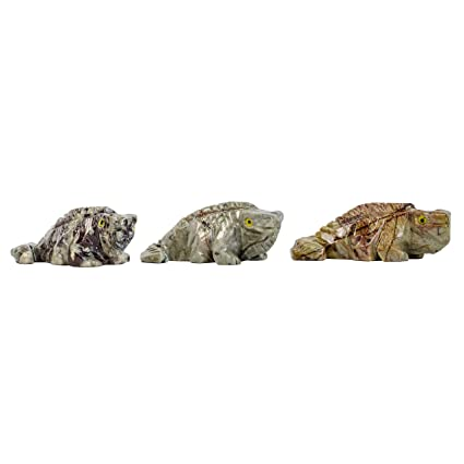 Hipnótico Gems tallada: 3 pcs Iguana tallada a mano de colección Animal figura decorativa –