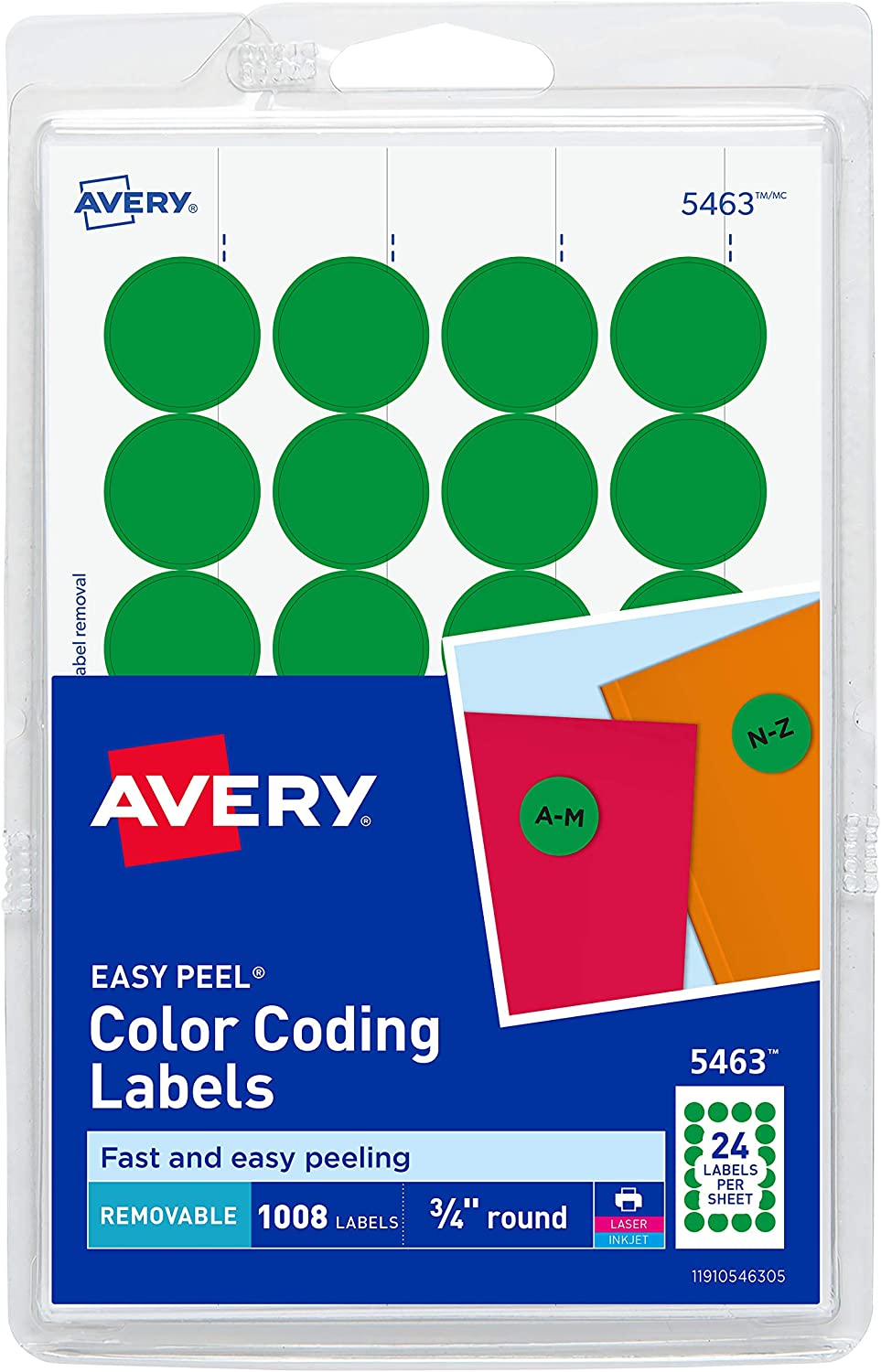 AVERY Print/Write Self-Adhesive Removable Labels, 0.75 Inch Diameter, Green, 1008 per Pack (05463) : All Purpose Labels : Office Products