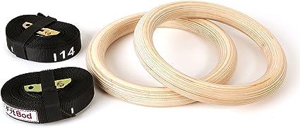 Gonex Gymnastique Anneaux Bois avec Sangles R/églables Anneaux Gym 32mm Musculation Traction Crossfit Ring Exercice /à Domicile