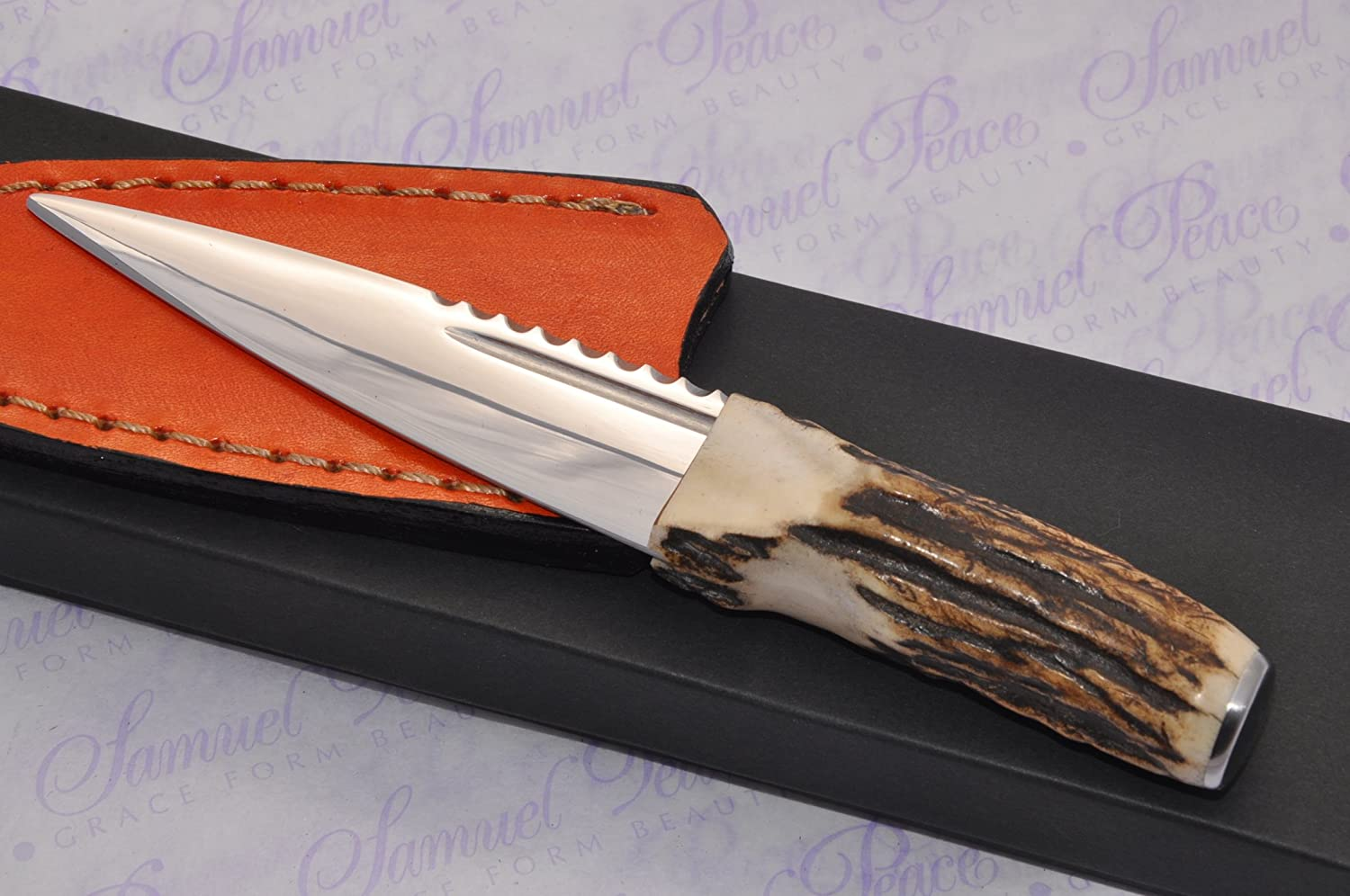 Genuine Sambar Stag Handle Sheffield Carbon Steel Sgian Dubh Boxed with Superior Leather Sheath
