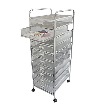 Design Ideas Mesh Art Cart, 10 Drawer, Silver