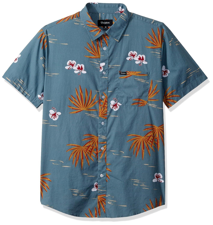 Brixton Mens Charter Print Standard Fit Short Sleeve Woven Shirt
