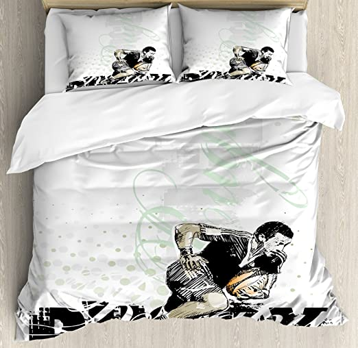 Rugby Personalised White DUVET Bedding duvet single or double