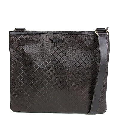 1e2a94f07f27f7 Amazon.com: Gucci Hilary Dark Brown Lux Diamante Leather Messenger Bag  201446 2044: Shoes