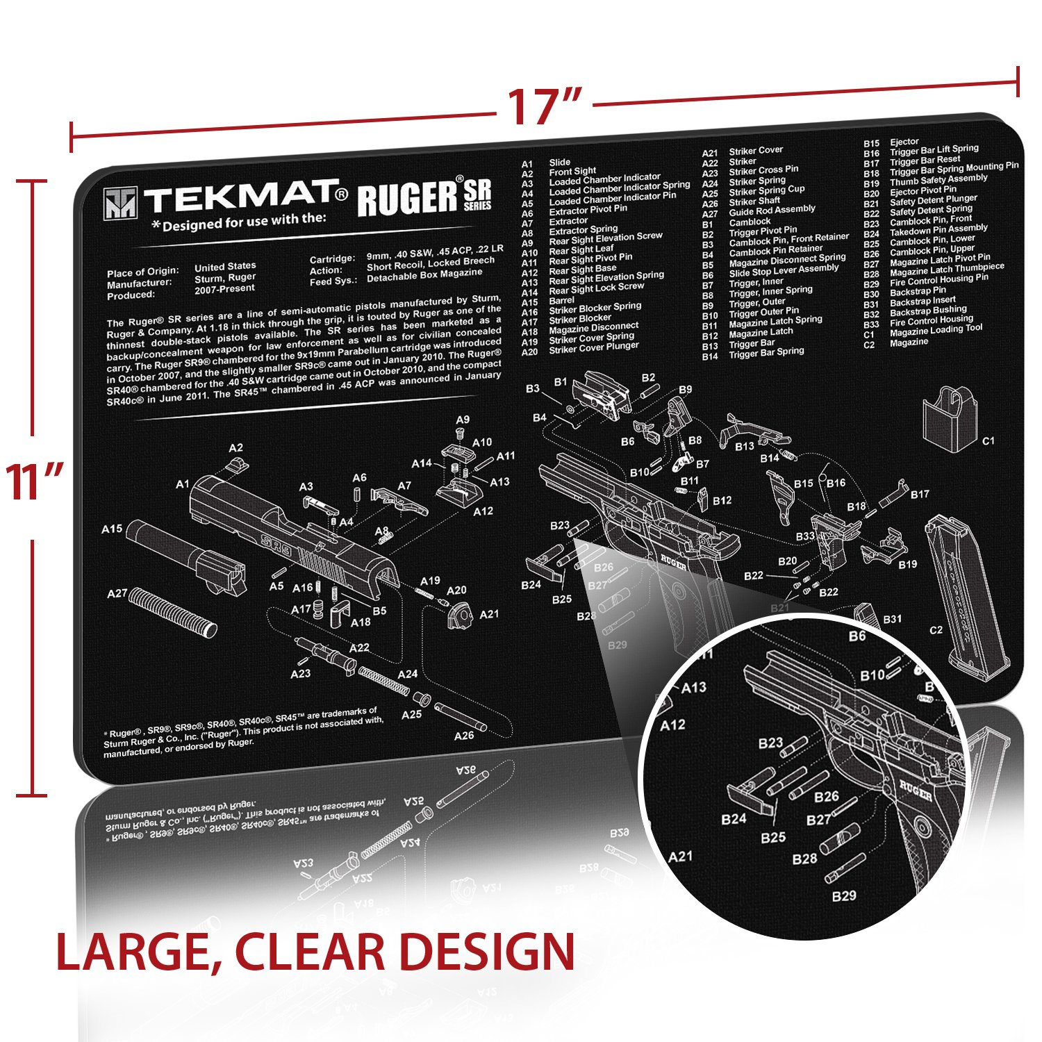 Amazon.com : TekMat Ruger SR 9 (SR 40) Cleaning Mat / 11 x 17 Thick