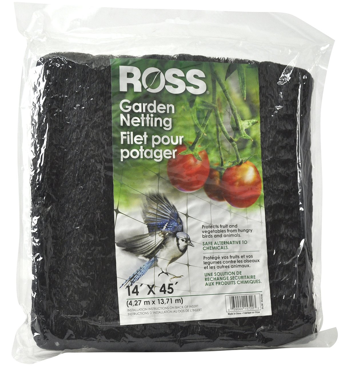 Ross Garden Netting (Multi-Use Netting for Use Around Yard and Garden) Black Mesh Plastic Netting, 14 feet x 45 feet