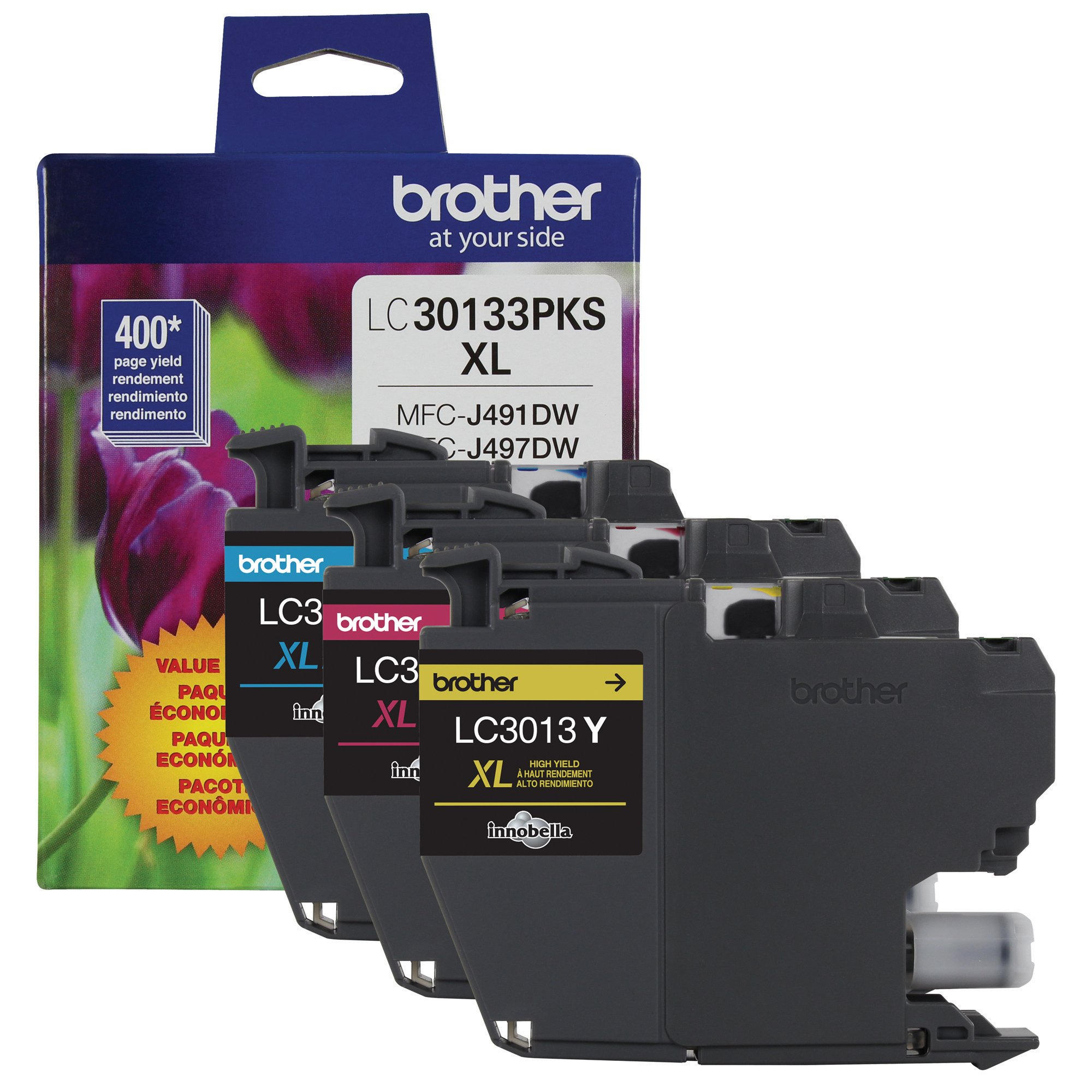 Brother Genuine LC30133PKS 3-Pack High Yield Color Ink Cartridges, Page Yield up to 400 Pages/Cartridge, Includes Cyan, Magenta and Yellow, LC3013