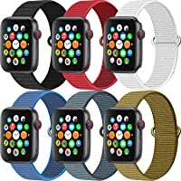 MAZTRON 6-Pack Nylon Band Compatible with Apple Watch 38mm 40mm 42mm 44mm size, Soft Light-weight Breathable Sport Loop…