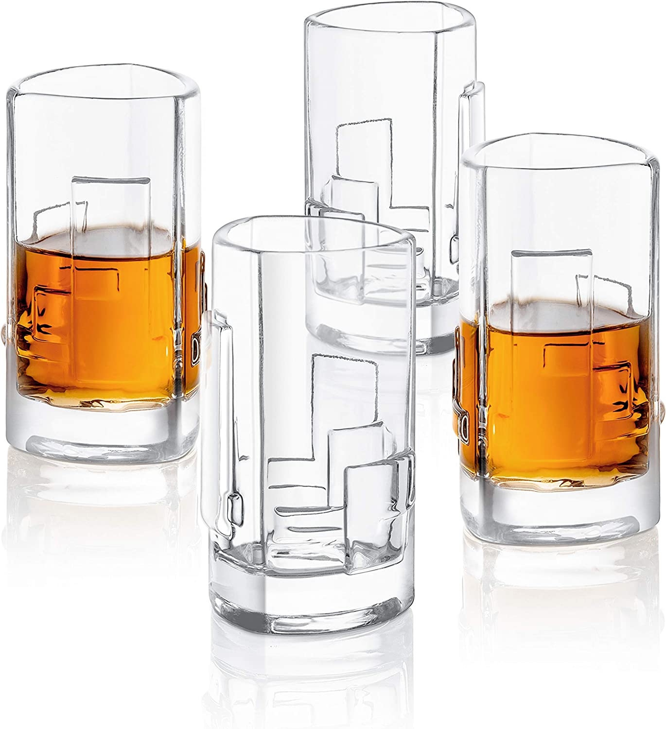 1.8-Ounce Carre Shot Glasses Square Heavy Base Shot Glass Set Of 4