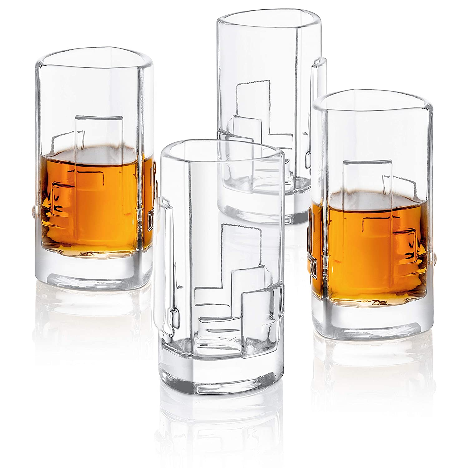 JoyJolt Revere Drinking Glasses Ultra Clear Whiskey Glass for Bourbon and Liquor Set Of 2 Glassware Old Fashioned Glasses 13-Ounce