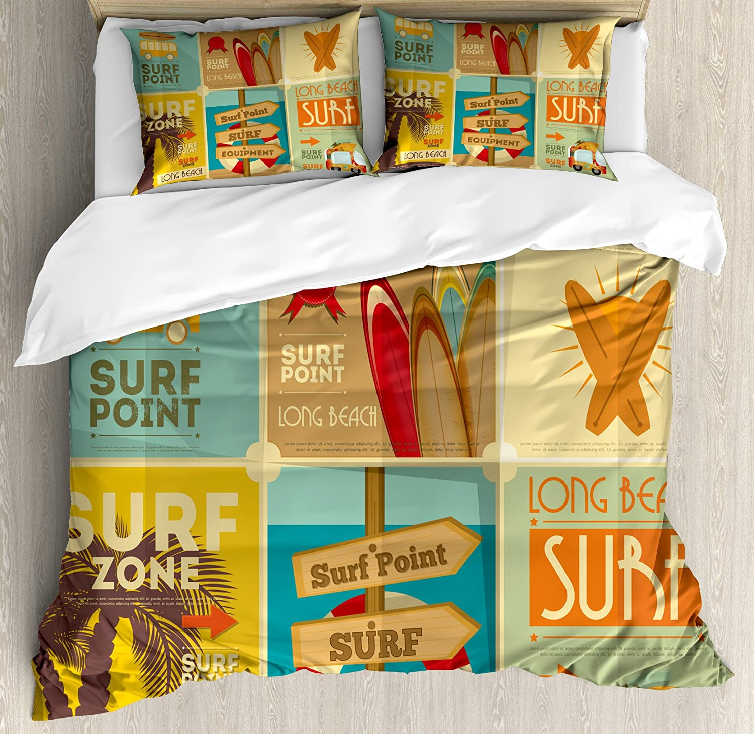 Lunarable Surf Queen Size Duvet Cover Set, Retro Posters Collection Summer Vacation Theme Hobby Water Sports California Beach, Decorative 3 Piece Bedding Set with 2 Pillow Shams, Multicolor