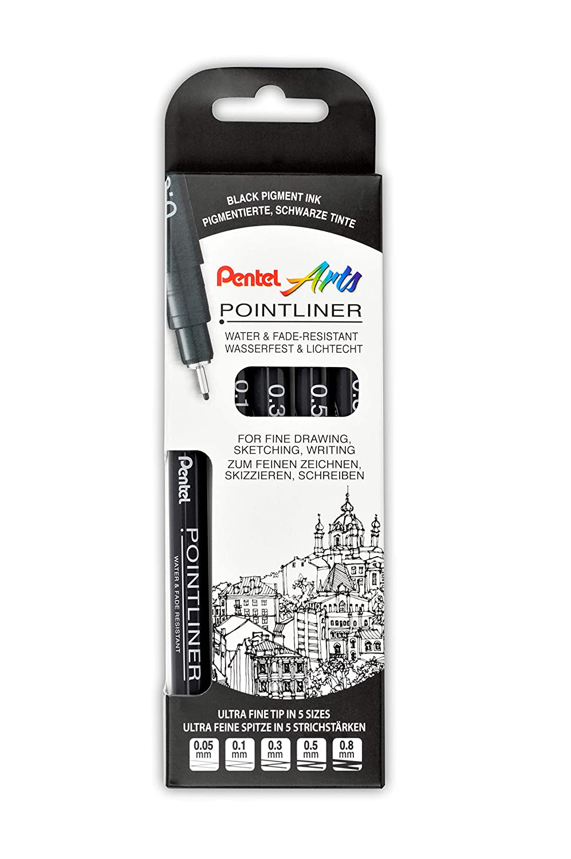 0,05-0,8 mm nero Set di 5 fineliner resistenti allacqua e alla luce Pentel Pointliner S20P-5