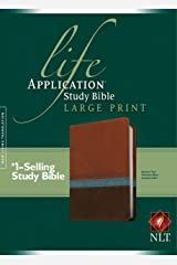NLT Life Application Study Bible, Second Edition, Large Print (Red Letter, LeatherLike, Heather Blue/Brown/Tan) Imitation Leather