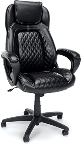 OFM Essentials Collection Racing Style SofThread Leather High Back Office Chair, in Black ESS-6060