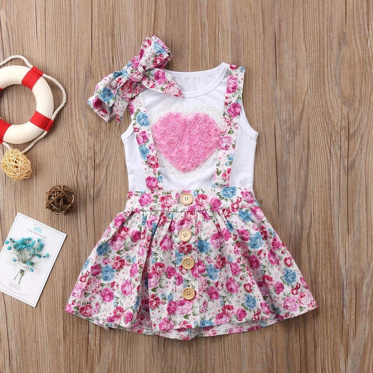 Puseky 3 st/ücke baby m/ädchen schwester passenden herz weste stirnband floral strapsrock sommer outfits Color : White+Pink, Size : Big Sister-3Y-4Y