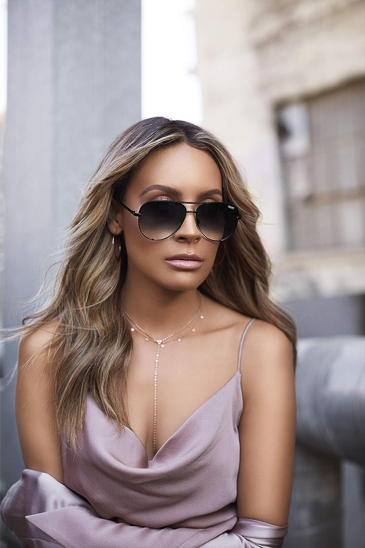 afdbbdd9321 Amazon.com  Quay Australia HIGH KEY MINI Men s and Women s Sunglasses  Aviator Sunnies - Black Fade  Clothing