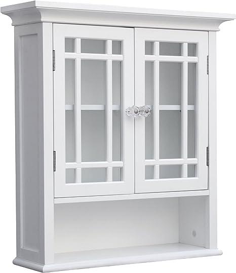 Amazon Com Elegant Home Fashions Neal Bathroom Wall Mounted Medicine Cabinet Bathroom Storage Space Saver With 2 Glass Doors Open Shelf And Adjustable Shelf White Furniture Decor