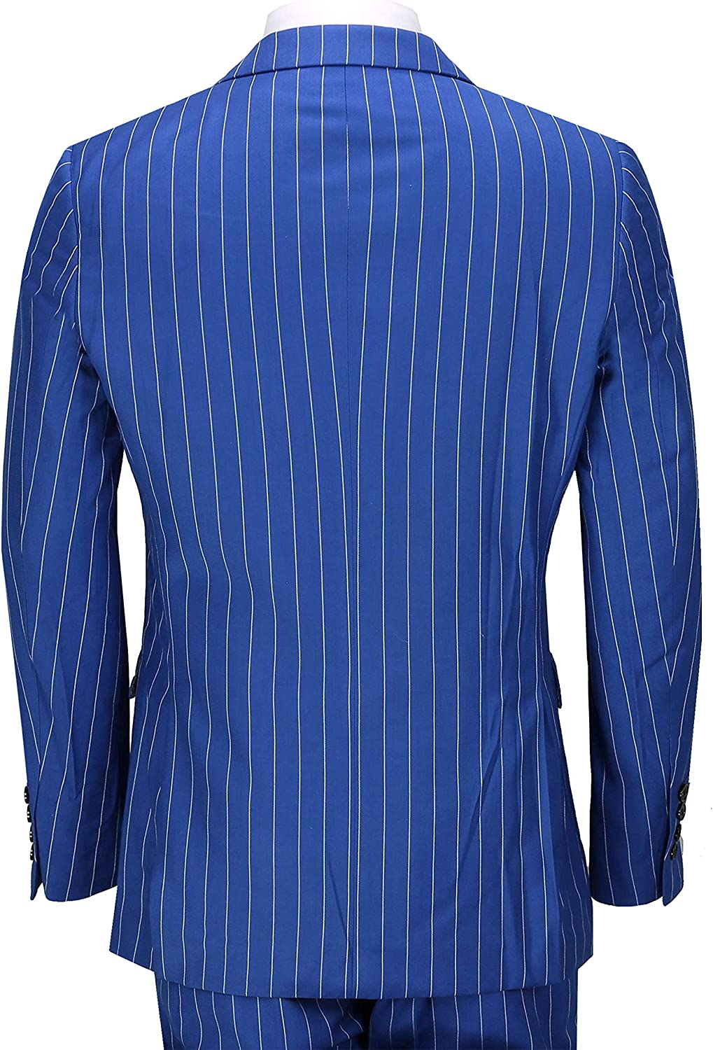 Mens 3 Piece White Pin Stripe on Royal Blue Suit Retro 1920s Peaky Blinders Tailored Fit