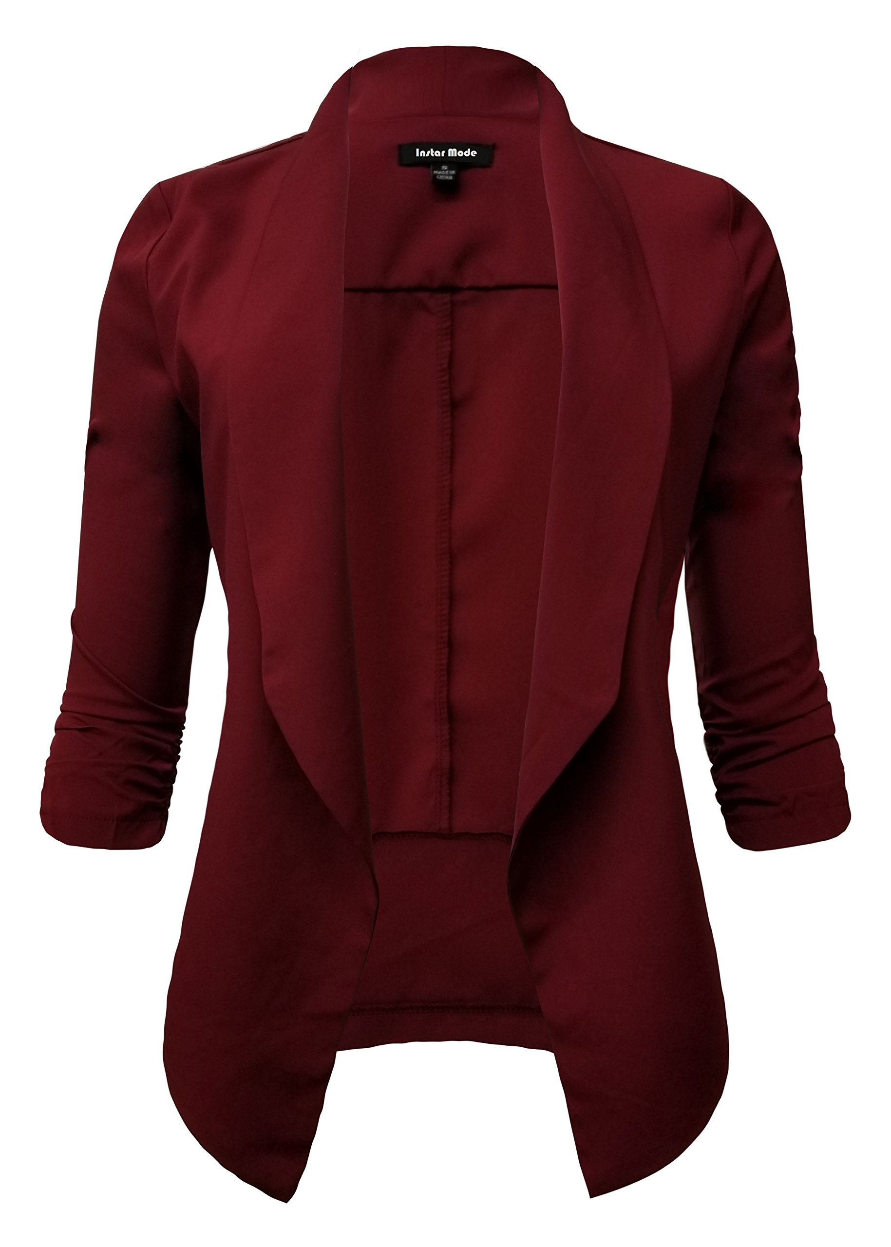 Instar Mode Women's Lightweight Fly Away Thin Chiffon Ruched Sleeve Opened Blazer (B610117 Burgundy, Medium)