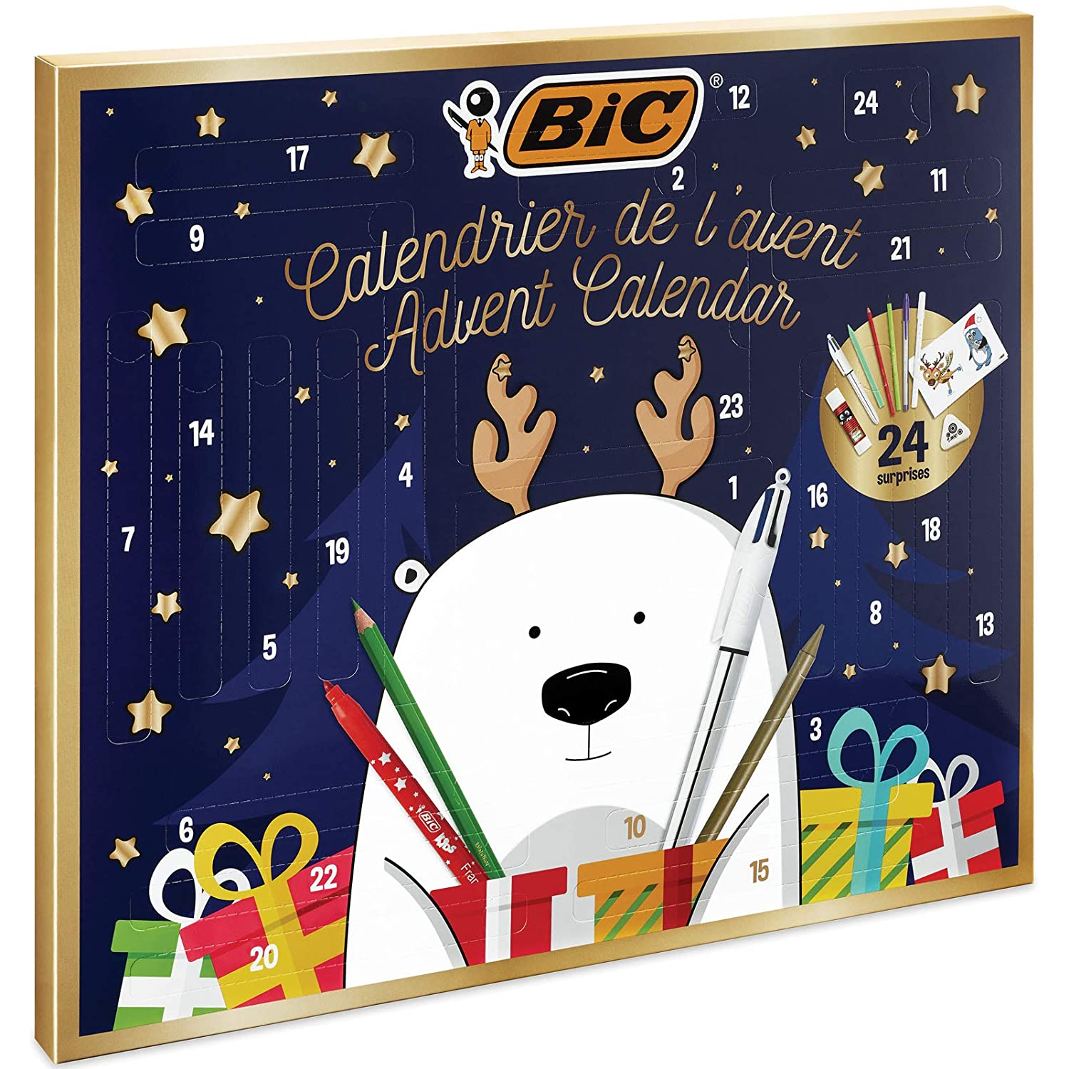 BIC Advent Calendar - 24 Writing Products, 6 Magic Felt Pens/6 Coloured Pencils/4 Colouring Crayons/1 Glue Tube/1 Graphite Pencil/1 Eraser/3 Ball Pens, 24 Postcard & 20 Stickers to colour 961512