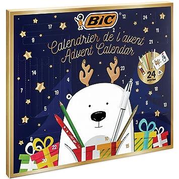 BIC Calendrier de l'Avent - 24 Produits d'Écriture, 6 Feutres/6 Crayons de Couleurs/4 Craies de Coloriage/1 Tube de Colle/1 Crayon à Papier/1 Gomme/3 Stylos-Bille, 24 Cartes et 20 Stickers à Colorier