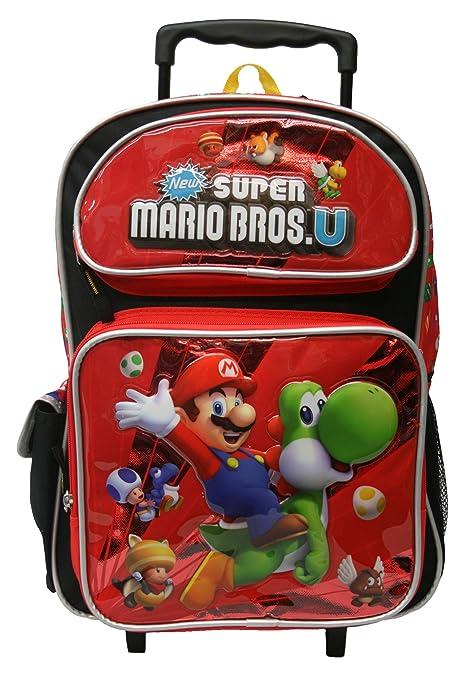 Small Size Super Mario U Rolling Mochila - Kids Size Maleta con Ruedas