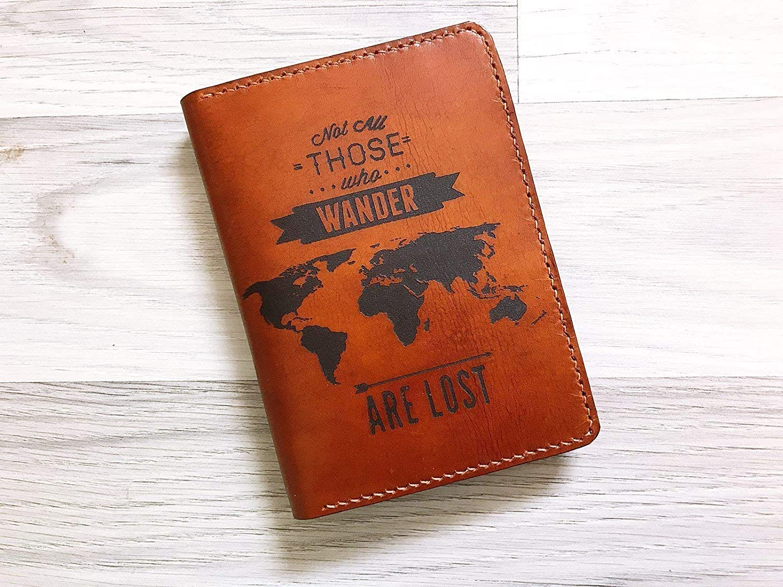 Unik4art - Wanderlust typography genuine leather handmade men women family passport holder cover wallet case World map Travel accessories gifts