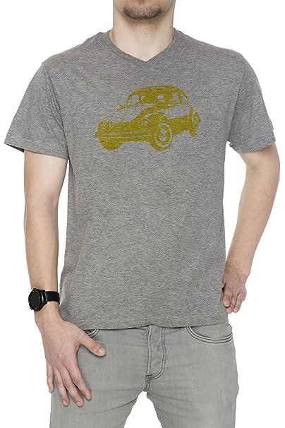 Coche Amarillo Hombre Camiseta V-Cuello Gris Manga Corta Todos Los Tamaños Mens T-Shirt V-Neck Grey All Sizes: Amazon.es: Ropa y accesorios