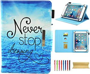 Universal Case for 7.0 Inch Tablet, Techcircle Slim PU Leather Stand Folio Wallet Case for Samsung Galaxy Tab E Lite, Acer Iconia One 7, Google/RCA and More 7-inch Android Tablet, Never Stop