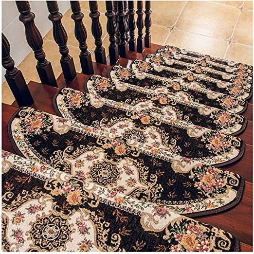 Alfombrillas Escalera Semi-Arco Escaleras Alfombras Protector Patrón Floral Autoadhesivo Suave Sin Decoloración 5 Tamaños 2 Colores (Color : Brown, Size : 10pcs24x80cm): Amazon.es: Hogar