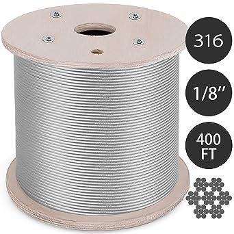 BestEquip Cable de acero inoxidable T316 de 1/8 pulgadas, 7 ...