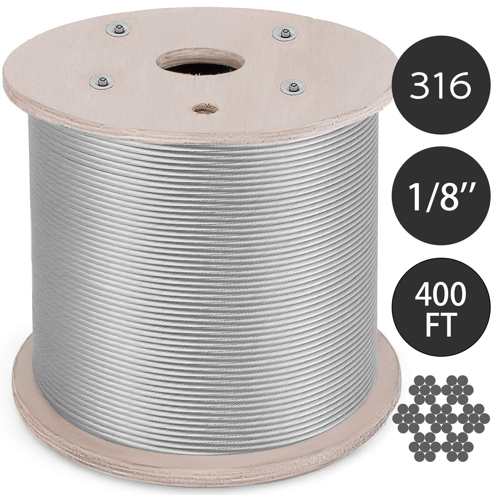 BestEquip 0.125Inch T316 Stainless Steel Cable 7x7 Strand Winch Rope Aircraft Steel Cable Stainless Steel Wire Rope Cable 400FT(0.125In 400Ft T316)