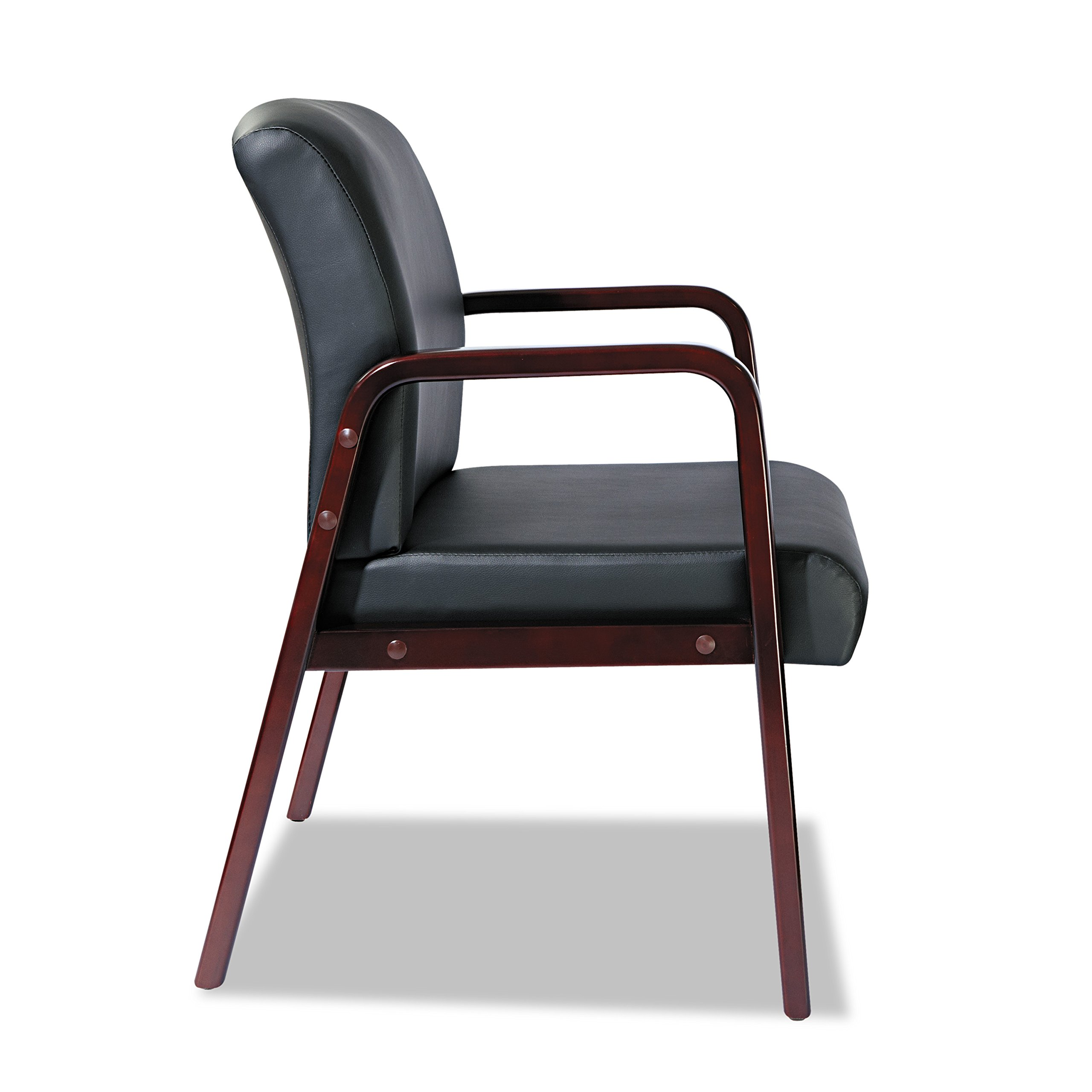 Alera ALERL4319M Reception Lounge Series Guest Chair, Mahogany/Black Leather by Alera (Image #8)