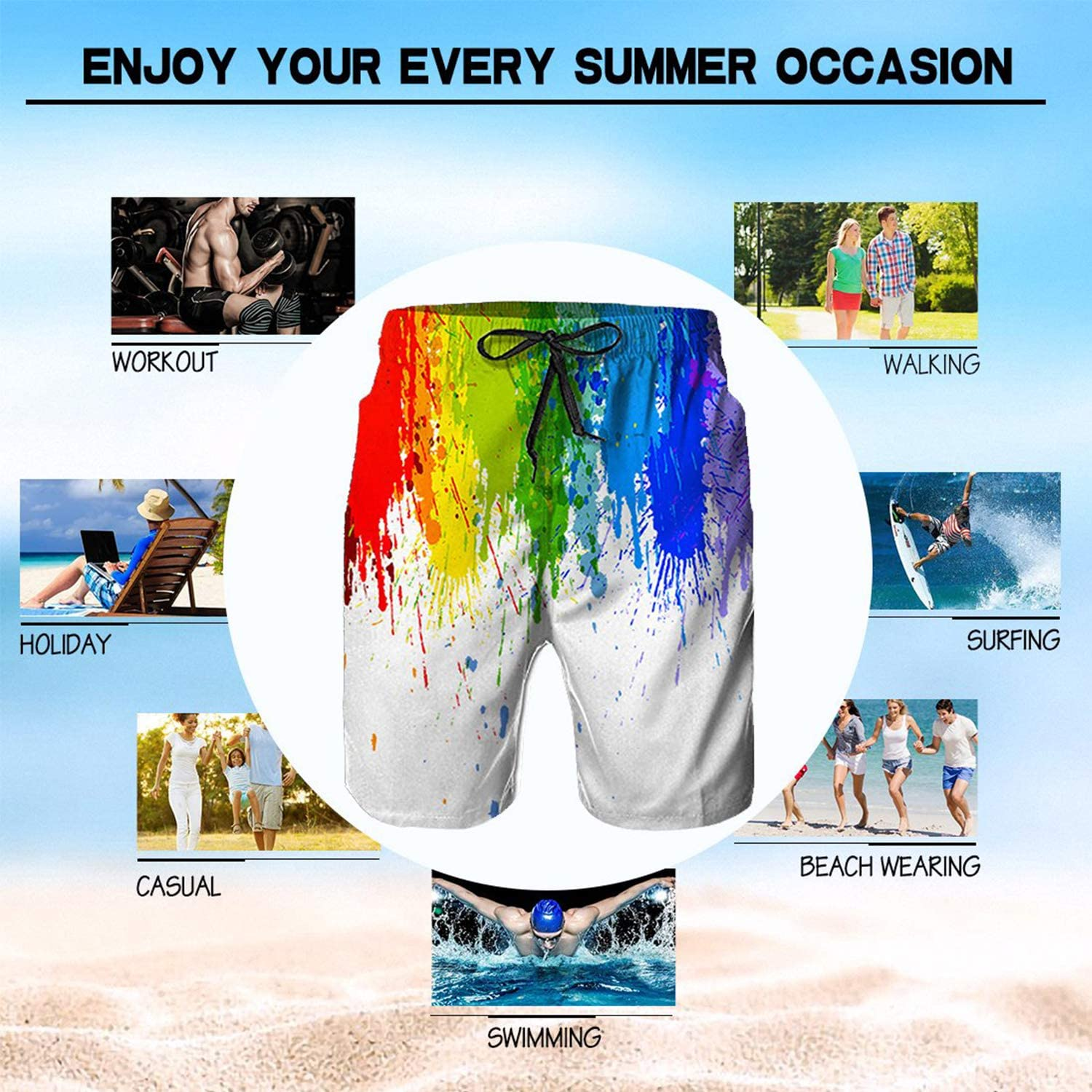 Boys Board Shorts Ethnic Broken Lines Wolf Quick Dry Swim Surf Trunks