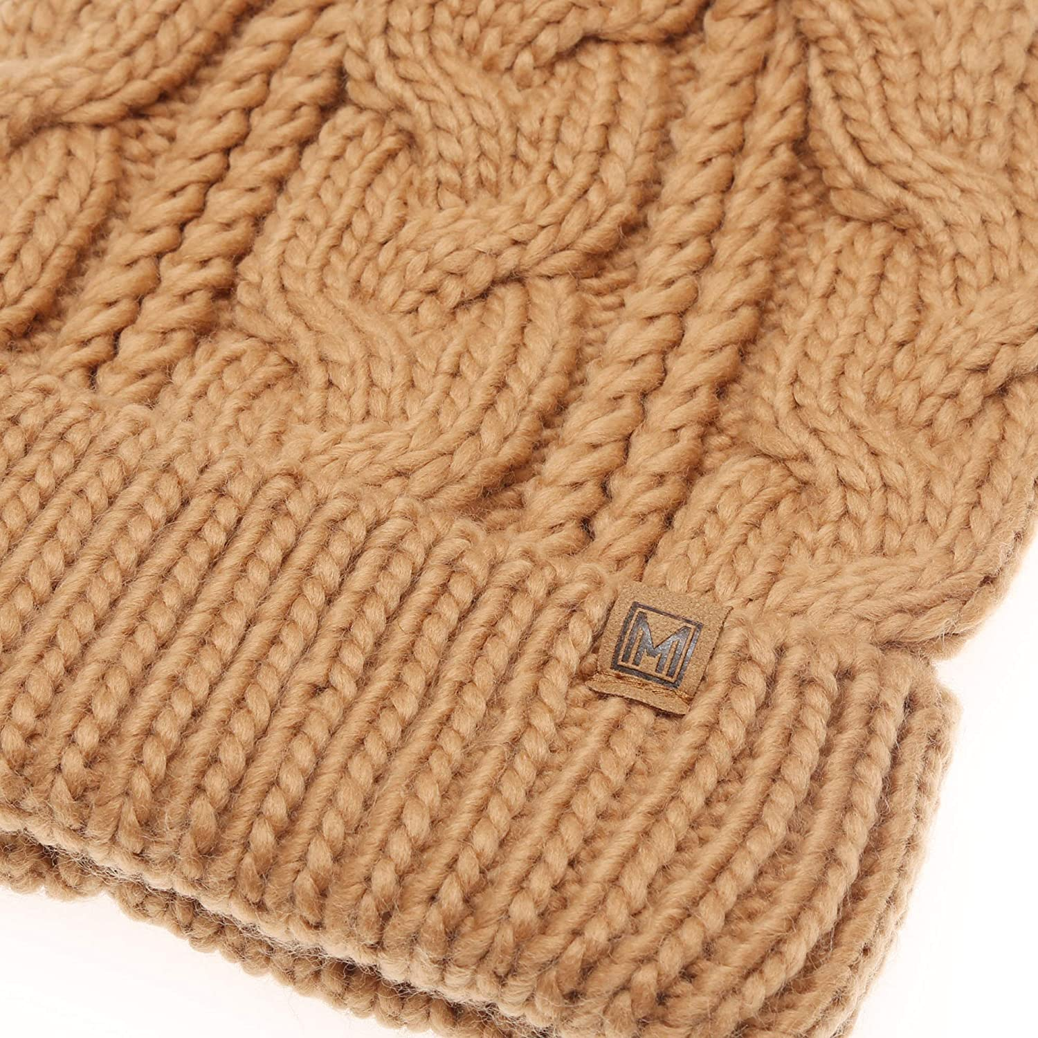 MIRMARU Kids Youth Boys /& Girls Ages 7-12 Winter Thick Stretchy Cable Knitted Pom Pom Beanie Hat