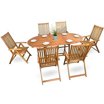 7 pièces Set de salon de jardin en bois meubles en bois ...