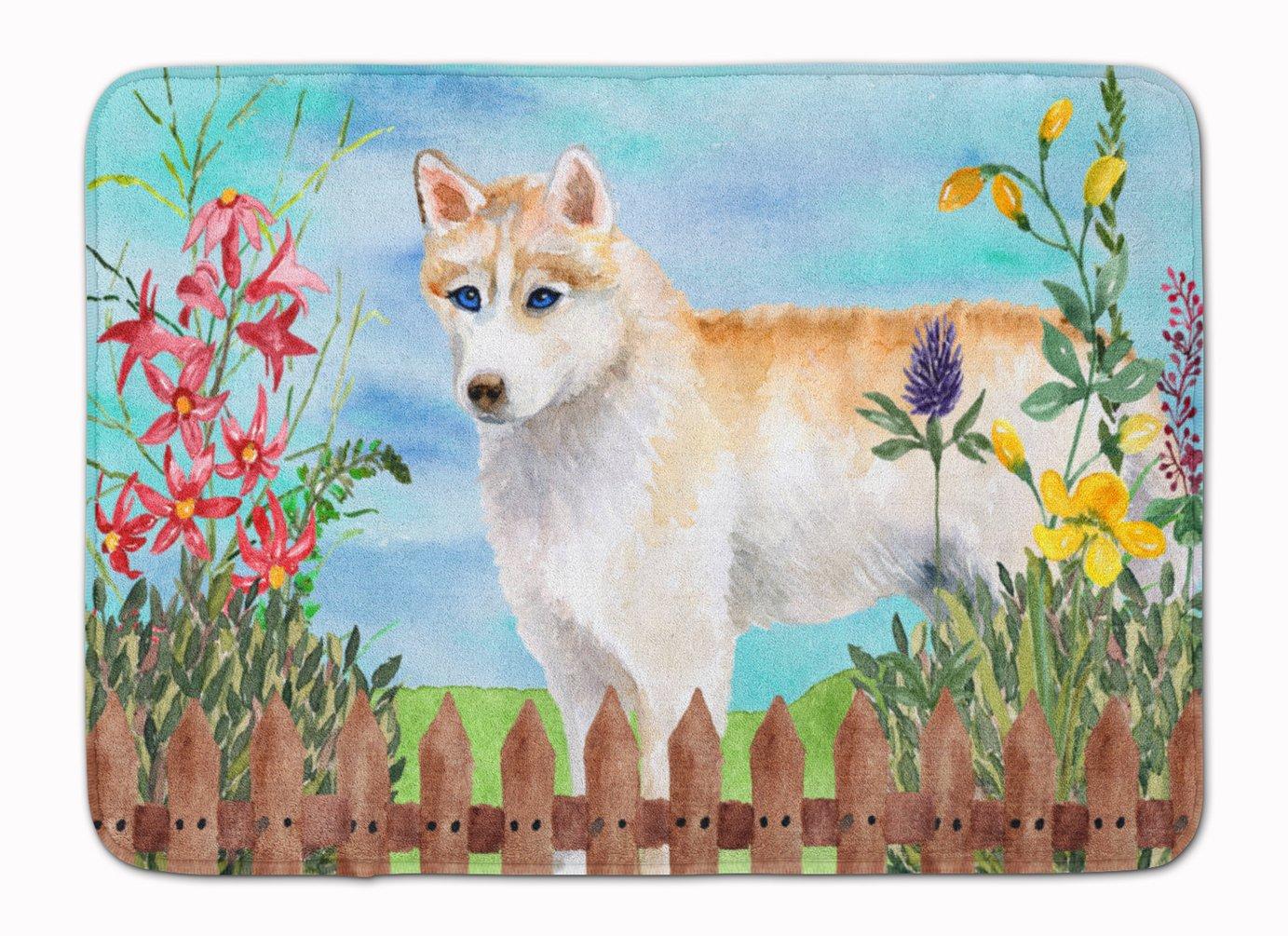 Carolines Treasures Siberian Husky Spring Floor Mat 19 x 27 Multicolor