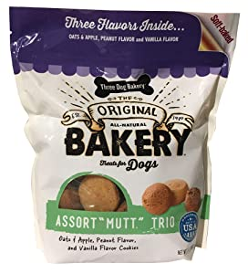 Three Dog Bakery Cookies, Assorted Flavors, Baked Dog Treats