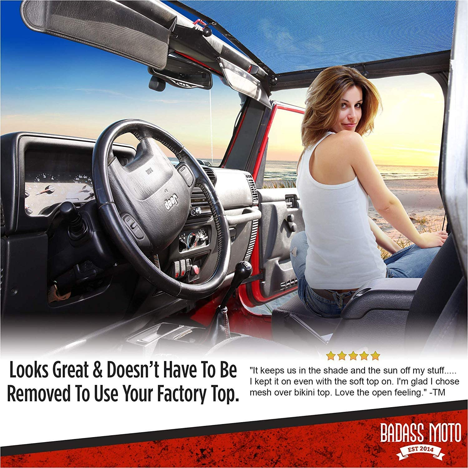 Unlimited 4 Dr 2007/–2018 BADASS MOTO for Jeep Sunshade for Jeep Wrangler Top Mesh Keeps You Cool Easy No Tool Install JKU Sun Shade Top for Jeep Lover Gifts Accessories Wind /& Noise Reduces UV