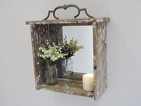 Pareti In Legno Shabby : Specchio da parete in legno in stile shabby chic vintage: amazon.it